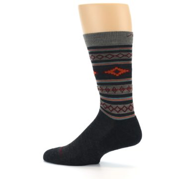 Image of Charcoal Orange Santa Fe Stripe Wool Men's Socks (side-2-13)