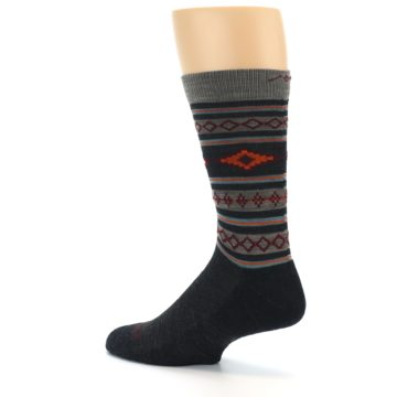 Image of Charcoal Orange Santa Fe Stripe Wool Men's Socks (side-2-back-14)