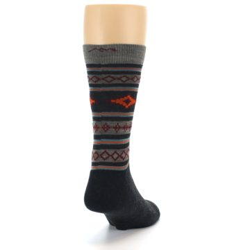 Image of Charcoal Orange Santa Fe Stripe Wool Men's Socks (side-1-back-20)