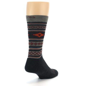 Image of Charcoal Orange Santa Fe Stripe Wool Men's Socks (side-1-back-21)