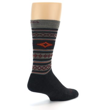 Image of Charcoal Orange Santa Fe Stripe Wool Men's Socks (side-1-back-22)