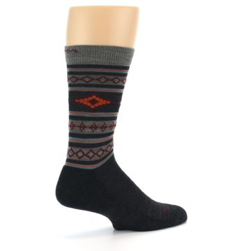 Image of Charcoal Orange Santa Fe Stripe Wool Men's Socks (side-1-23)