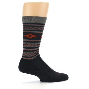 Image of Charcoal Orange Santa Fe Stripe Wool Men's Socks (side-1-24)