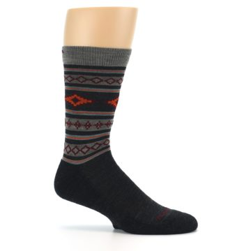 Image of Charcoal Orange Santa Fe Stripe Wool Men's Socks (side-1-25)