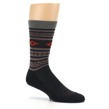 Image of Charcoal Orange Santa Fe Stripe Wool Men's Socks (side-1-26)