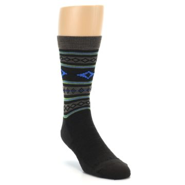 Image of Brown Blue Lime Santa Fe Stripe Wool Men's Socks (side-1-front-02)
