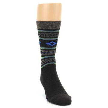 Image of Brown Blue Lime Santa Fe Stripe Wool Men's Socks (side-1-front-03)