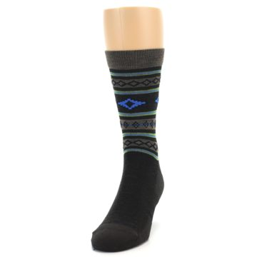 Image of Brown Blue Lime Santa Fe Stripe Wool Men's Socks (side-2-front-06)