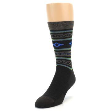 Image of Brown Blue Lime Santa Fe Stripe Wool Men's Socks (side-2-front-07)