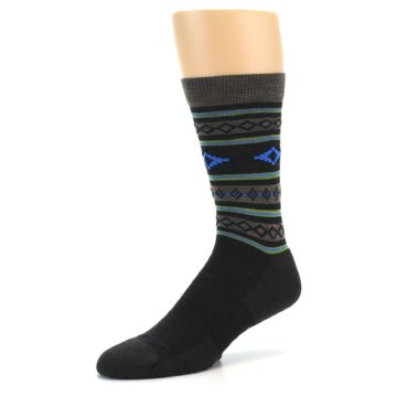 Image of Brown Blue Lime Santa Fe Stripe Wool Men's Socks (side-2-09)