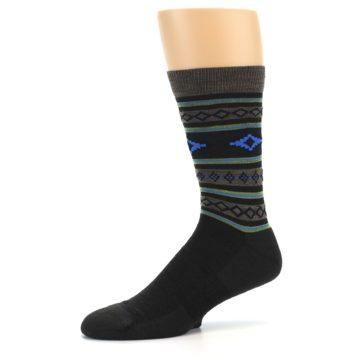 Image of Brown Blue Lime Santa Fe Stripe Wool Men's Socks (side-2-10)