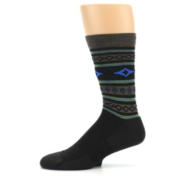 Image of Brown Blue Lime Santa Fe Stripe Wool Men's Socks (side-2-11)