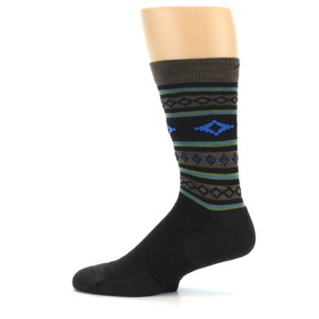 Image of Brown Blue Lime Santa Fe Stripe Wool Men's Socks (side-2-12)