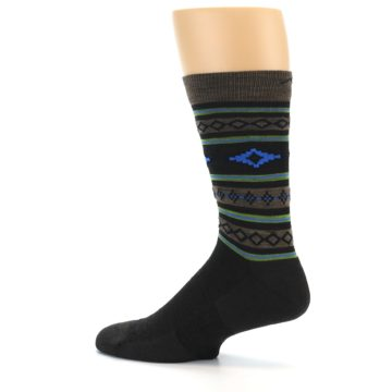 Image of Brown Blue Lime Santa Fe Stripe Wool Men's Socks (side-2-13)