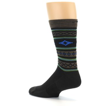 Image of Brown Blue Lime Santa Fe Stripe Wool Men's Socks (side-2-back-14)