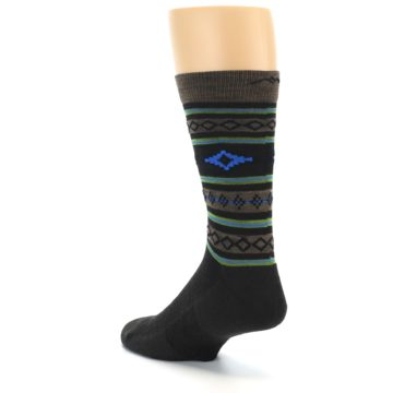 Image of Brown Blue Lime Santa Fe Stripe Wool Men's Socks (side-2-back-15)