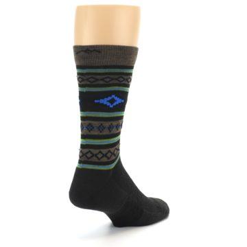 Image of Brown Blue Lime Santa Fe Stripe Wool Men's Socks (side-1-back-21)