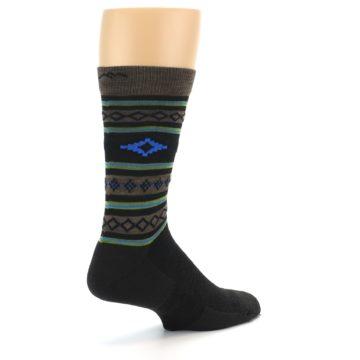 Image of Brown Blue Lime Santa Fe Stripe Wool Men's Socks (side-1-back-22)