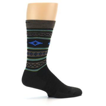 Image of Brown Blue Lime Santa Fe Stripe Wool Men's Socks (side-1-24)
