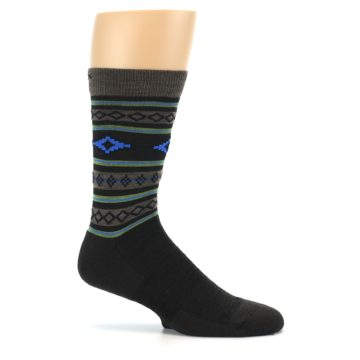Image of Brown Blue Lime Santa Fe Stripe Wool Men's Socks (side-1-25)
