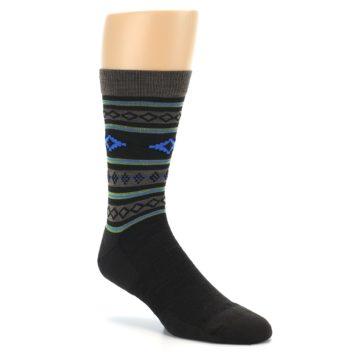 Image of Brown Blue Lime Santa Fe Stripe Wool Men's Socks (side-1-27)