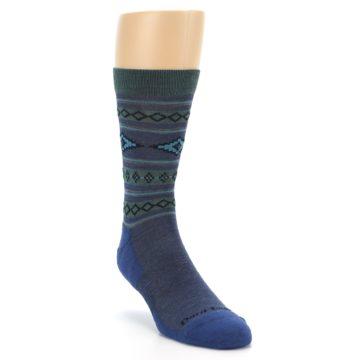 Image of Denim Teal Santa Fe Stripe Wool Men's Socks (side-1-front-02)