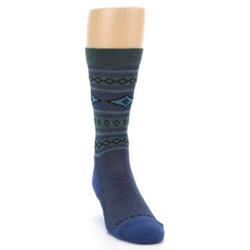 Image of Denim Teal Santa Fe Stripe Wool Men's Socks (side-1-front-03)