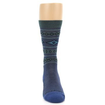 Image of Denim Teal Santa Fe Stripe Wool Men's Socks (front-04)