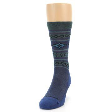 Image of Denim Teal Santa Fe Stripe Wool Men's Socks (side-2-front-06)