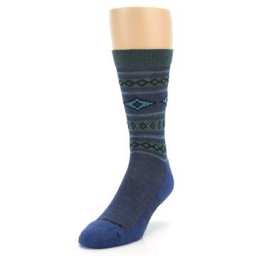 Image of Denim Teal Santa Fe Stripe Wool Men's Socks (side-2-front-07)