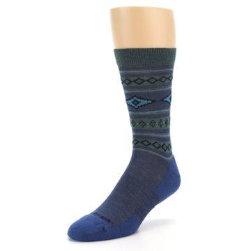 Image of Denim Teal Santa Fe Stripe Wool Men's Socks (side-2-front-08)
