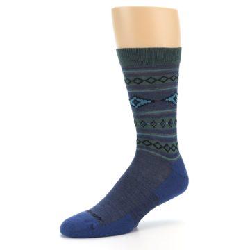 Image of Denim Teal Santa Fe Stripe Wool Men's Socks (side-2-09)