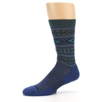 Image of Denim Teal Santa Fe Stripe Wool Men's Socks (side-2-10)