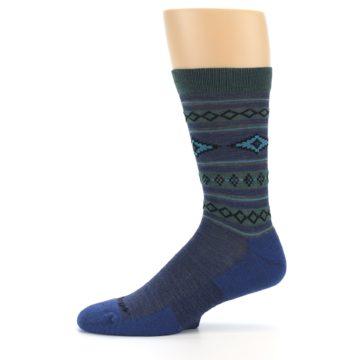 Image of Denim Teal Santa Fe Stripe Wool Men's Socks (side-2-11)