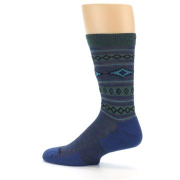 Image of Denim Teal Santa Fe Stripe Wool Men's Socks (side-2-13)