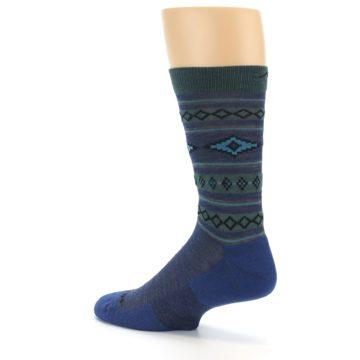 Image of Denim Teal Santa Fe Stripe Wool Men's Socks (side-2-back-14)