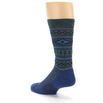 Image of Denim Teal Santa Fe Stripe Wool Men's Socks (side-2-back-15)