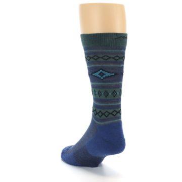 Image of Denim Teal Santa Fe Stripe Wool Men's Socks (side-2-back-16)