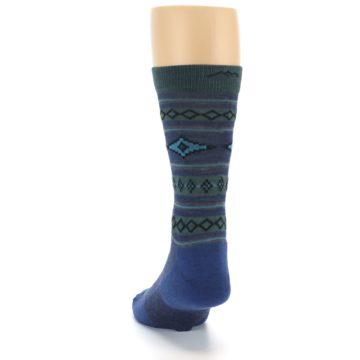 Image of Denim Teal Santa Fe Stripe Wool Men's Socks (back-17)