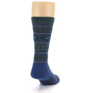 Image of Denim Teal Santa Fe Stripe Wool Men's Socks (side-1-back-20)