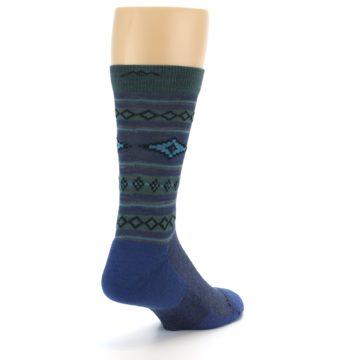 Image of Denim Teal Santa Fe Stripe Wool Men's Socks (side-1-back-21)