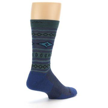 Image of Denim Teal Santa Fe Stripe Wool Men's Socks (side-1-back-22)