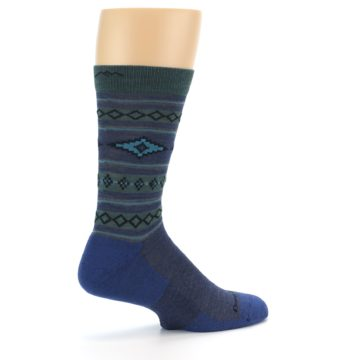 Image of Denim Teal Santa Fe Stripe Wool Men's Socks (side-1-23)