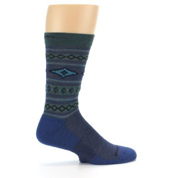 Image of Denim Teal Santa Fe Stripe Wool Men's Socks (side-1-24)