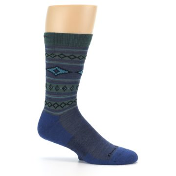 Image of Denim Teal Santa Fe Stripe Wool Men's Socks (side-1-25)