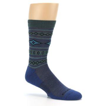 Image of Denim Teal Santa Fe Stripe Wool Men's Socks (side-1-26)