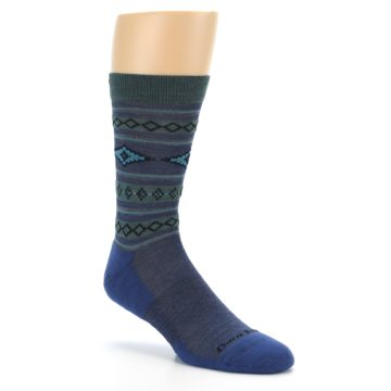 Image of Denim Teal Santa Fe Stripe Wool Men's Socks (side-1-27)