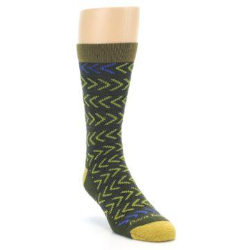 Image of Green Chevron Stripe Wool Men's Socks (side-1-front-02)