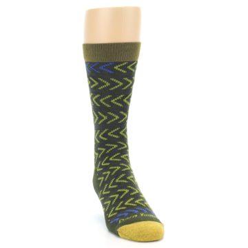 Image of Green Chevron Stripe Wool Men's Socks (side-1-front-03)