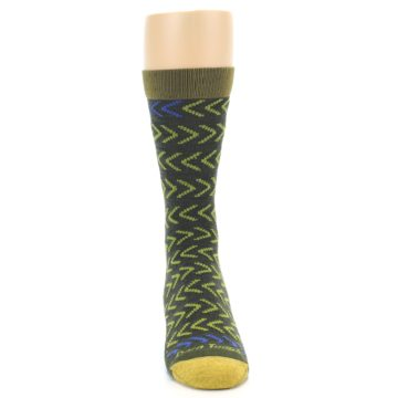 Image of Green Chevron Stripe Wool Men's Socks (front-04)